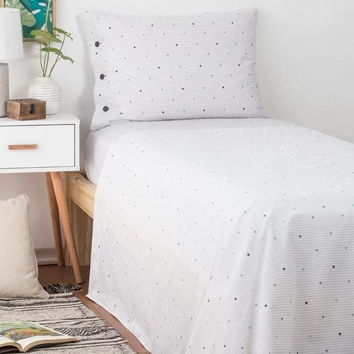 juego de sábanas  arredo twin raya camisera -  gris claro