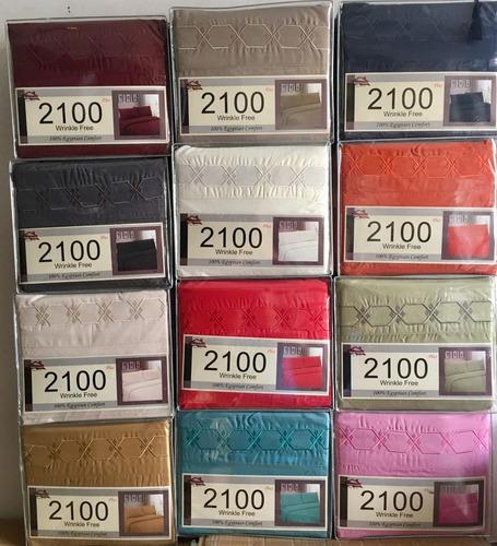juego de sabanas bordadas 2100 hilos comodidad egipcia