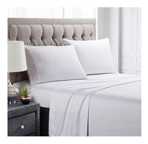 juego de sábanas cama doble unicolor tipo hotelera embone