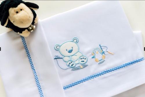 juego de sábanas catre 3 piezas bordado baby party