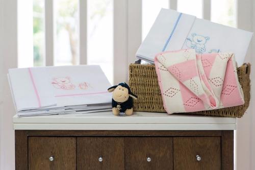 juego de sábanas cuna funcional 3 piezas bordado baby party
