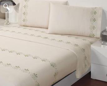 Juego de s banas de algod n modelo grecas verdes king for Sabanas para cama king size