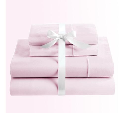 juego de sabanas doble unicolor karytex  - rosa