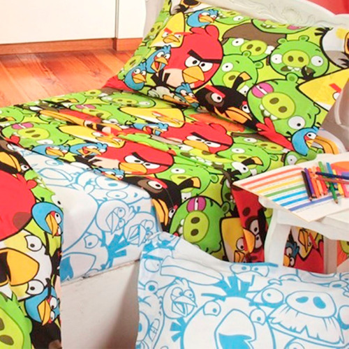 juego de sábanas infantiles angry birds 1 1/2 plaza twin