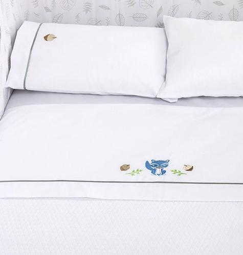 juego de sábanas para cuna - blanco/mapache