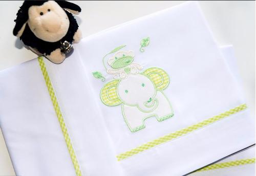 juego de sábanas practicuna bordado baby party