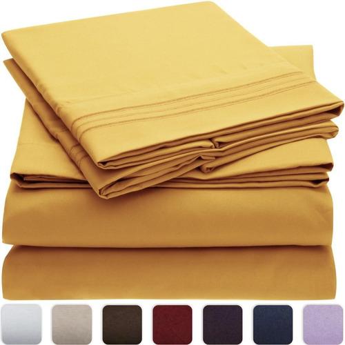 Juego de s banas ropa cama king xl 1800 hilos amarillo for Sabanas para cama king size