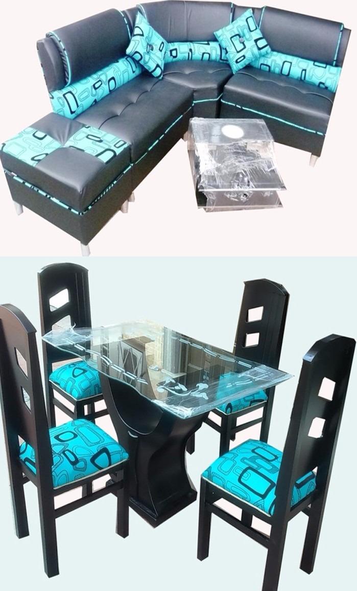 Juego de sala comedor de 4 puestos en madera y cuerotex for Almacenes muebles