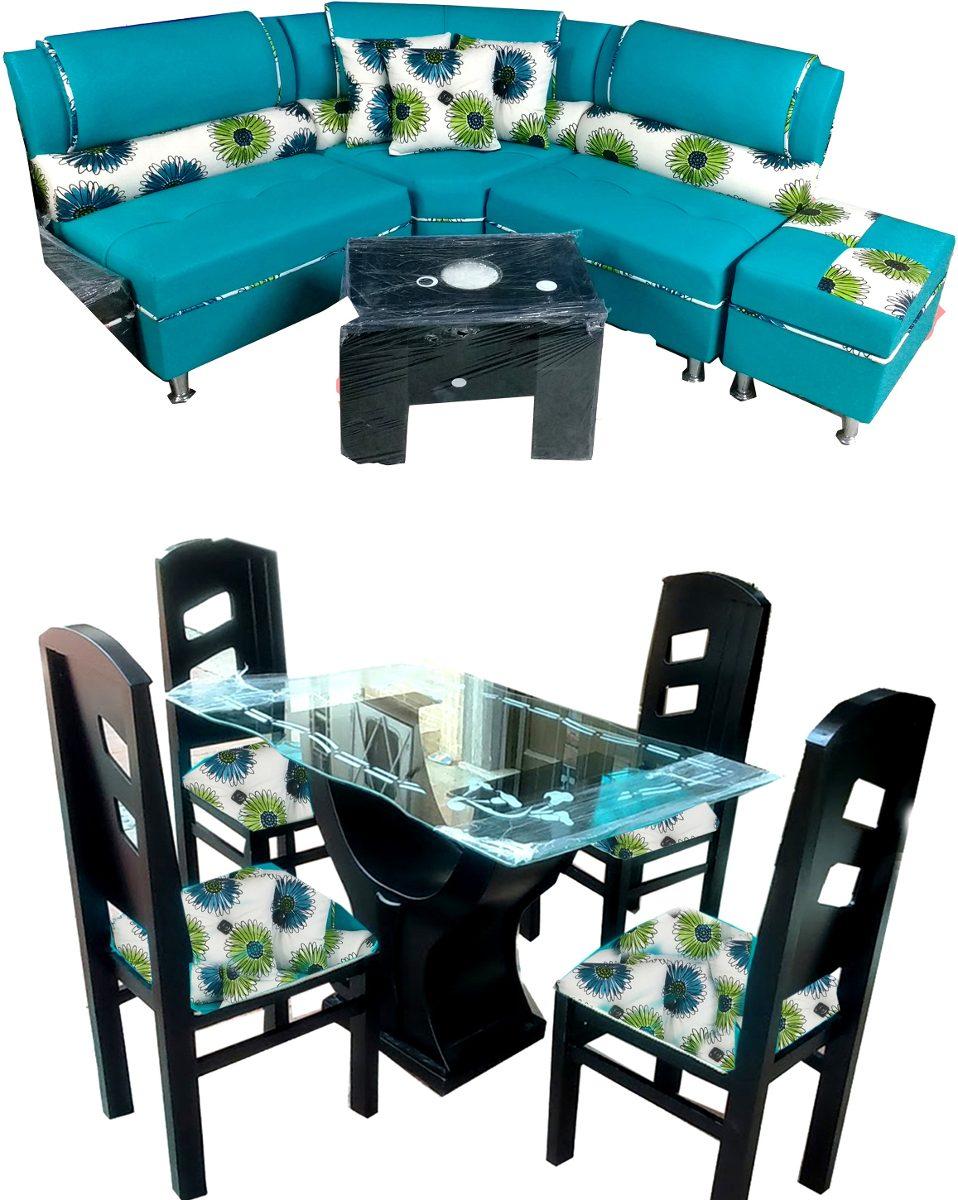 Juego de sala comedor de 4 puestos en madera y cuerotex for Comedor 4 puestos madera