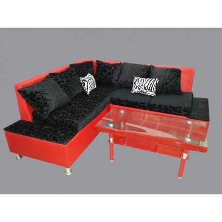 juego de sala l ortega color rojo con negro