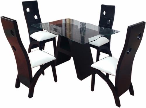 juego de sala y comedor en madera y cuerotex- mesa de vidrio