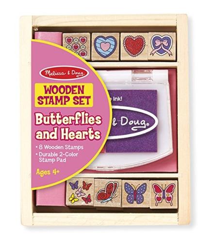 juego de sellos de mariposas y corazones melissa & doug