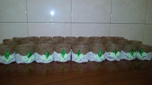juego de servilleteros y porta cubiertos de yute