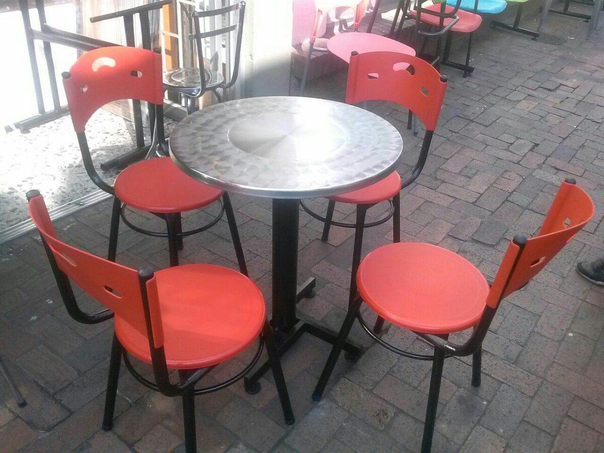 Juego De Sillas Karla Y Mesa Acero Para Cafe Bar
