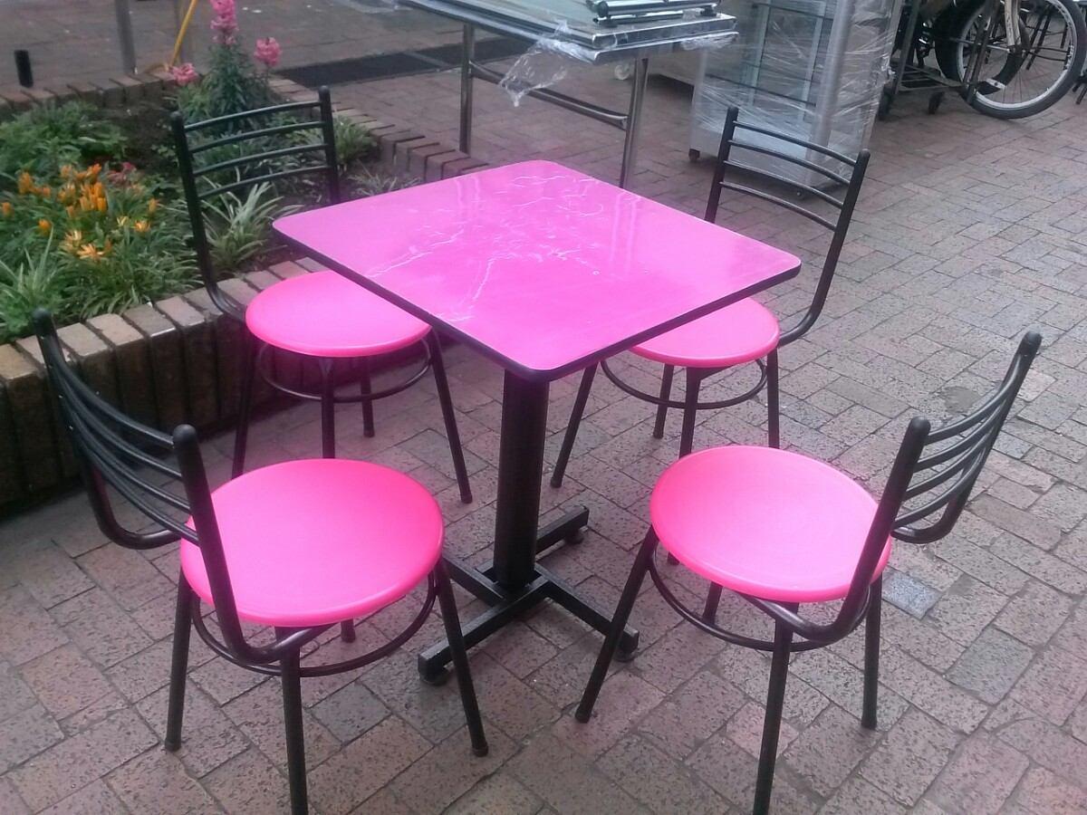 Juego de sillas y mesa met lica para bar restaurante for Sillas amarillas comedor