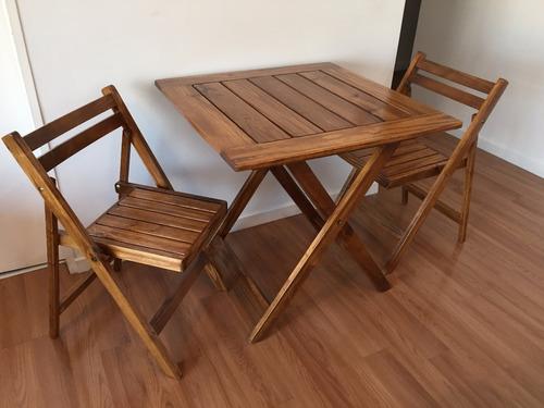 juego de sillas y mesa plegable madera jardin balcon terraza