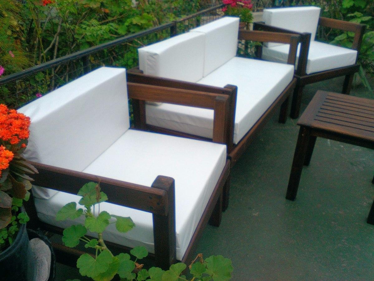 Juego De Sillones+almohadones+mesa Exterior Interior Madera ...
