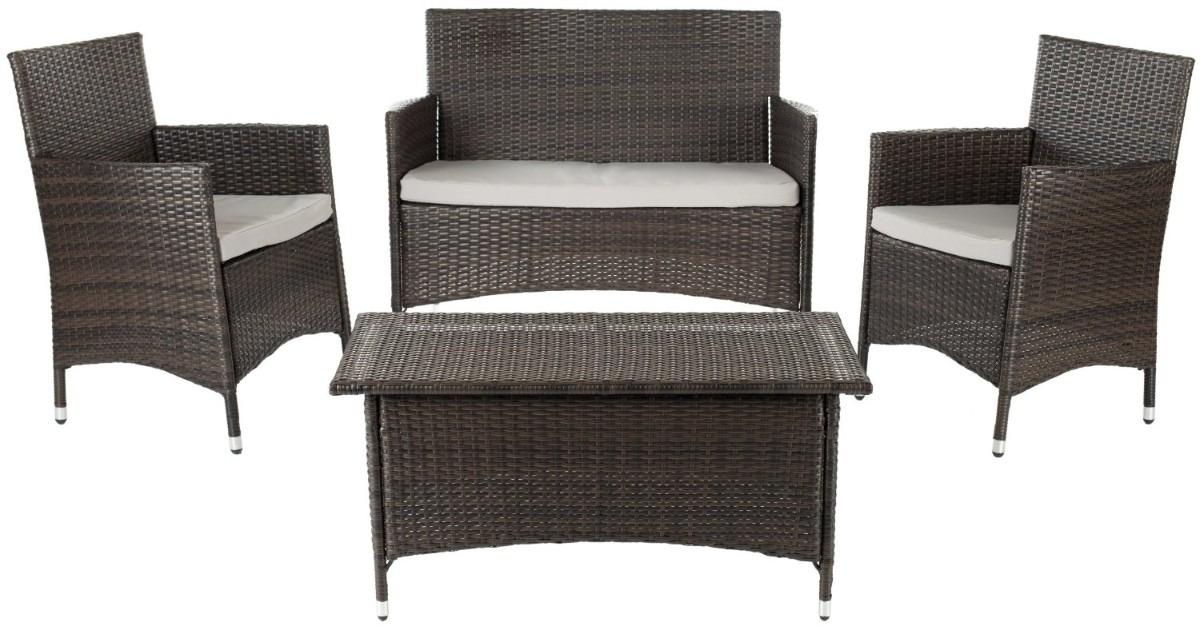 Juego de sillones con mesa central para jardin exterior for Sillones de exterior