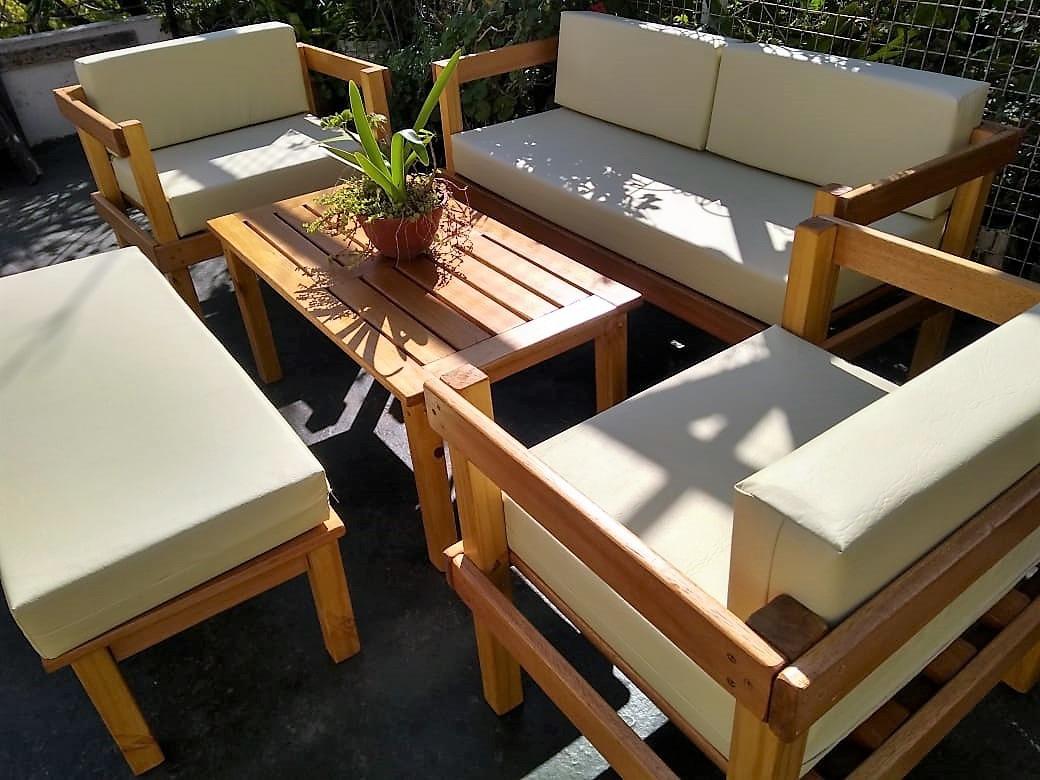 Juego De Sillones, Madera Para Jardin, Living Y Mesa Ratona ...