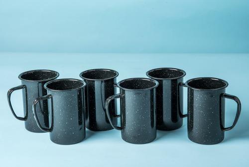 juego de tarro cervecero de peltre, 6 piezas negro