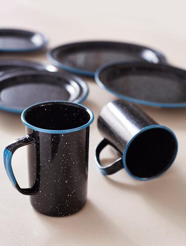 juego de tarro cervecero de peltre 6 piezas negro borde azul