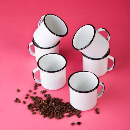 juego de taza café de peltre, 6 piezas blanco
