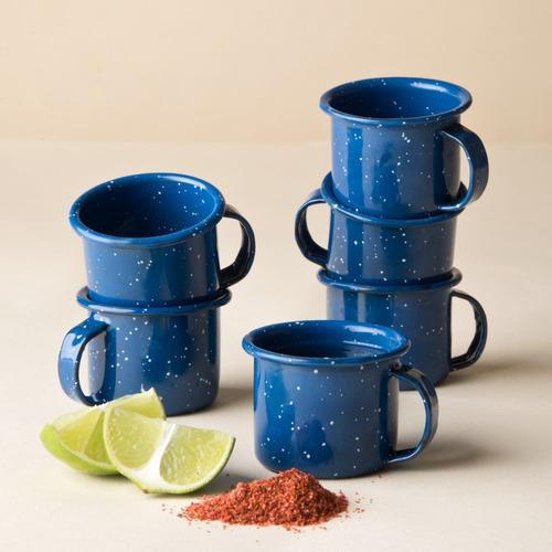 juego de taza mezcalera de peltre, 6 piezas azul