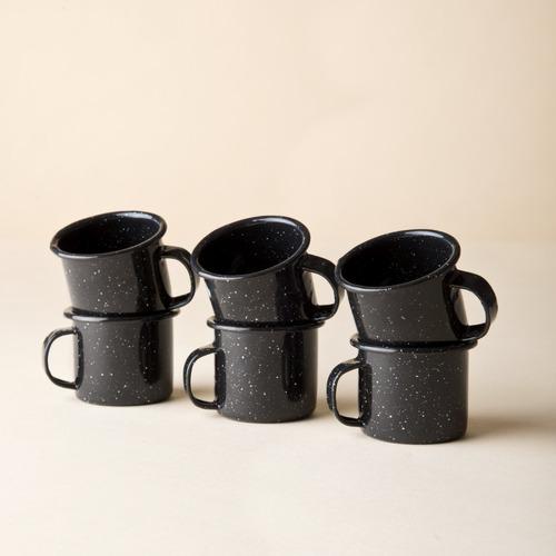 juego de taza mezcalera de peltre, 6 piezas negro