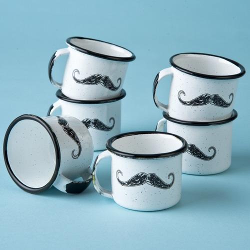 juego de taza mezcalera de peltre bigotes, 6 piezas
