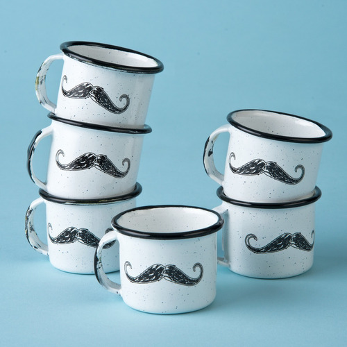 juego de taza mezcalera de peltre decorado, 6 piezas