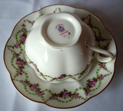 Juego de taza y plato de t porcelana inglesa crescent for Juego de tazas de te