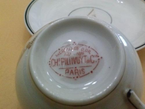 juego de tazas de chocolate,de porcelana francesa.