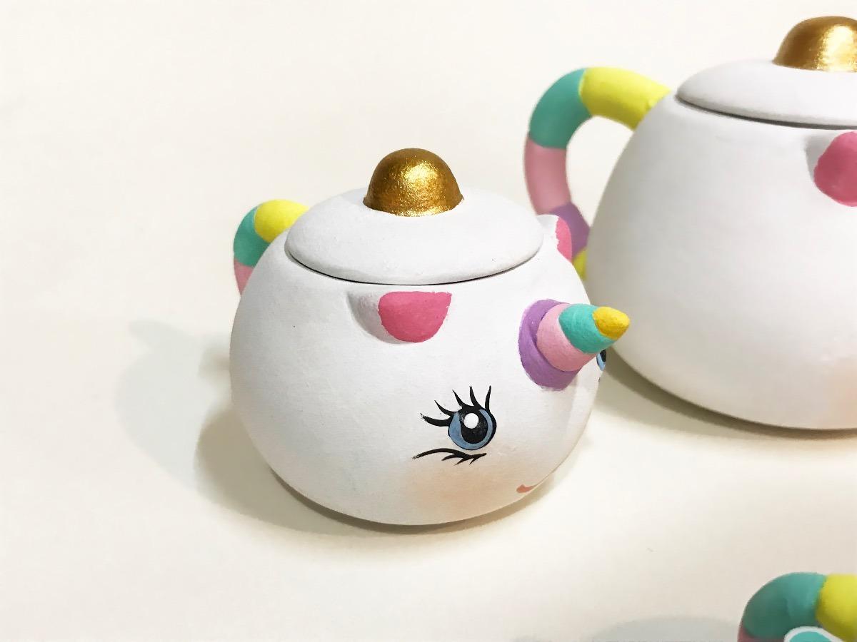 Juego De Te De Unicornio De Ceramica Pintado A Mano 459 00 En