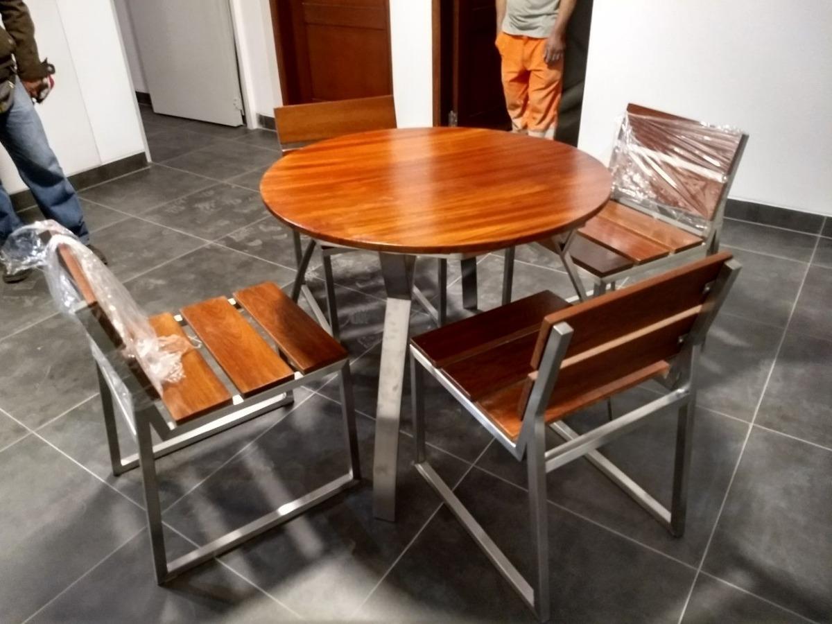 Juego de terraza circular de acero inoxidable y madera s for Compro juego de terraza