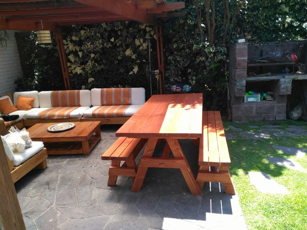 Juego de terraza de madera en mercado libre for Terrazas madera