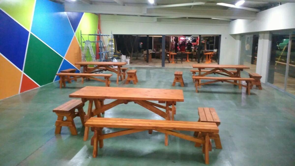 juego de terraza de madera en mercado libre
