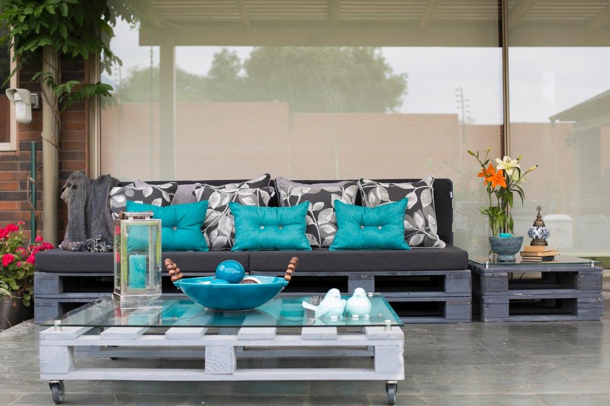 Juego de terraza pallets en mercado libre for Juego de muebles para terraza