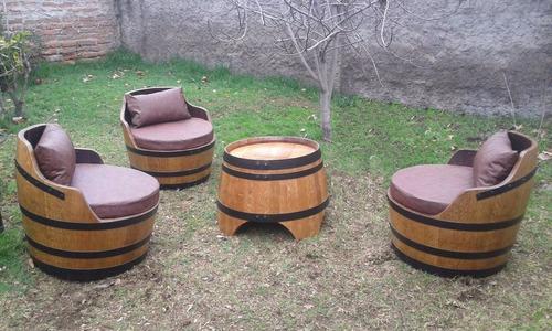 juego de terraza rústico, 3 sitiales + 1 mesa