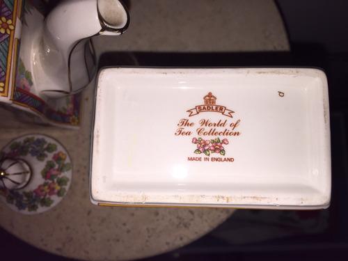 juego de tetera y azucarera porcelana inglesa marca sadler