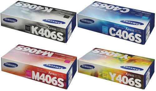juego de toner samsung clx-3305w, clp365w 406s 4 colores