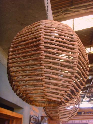 juego de tres lamparas farol colmena de hierro y tejido.