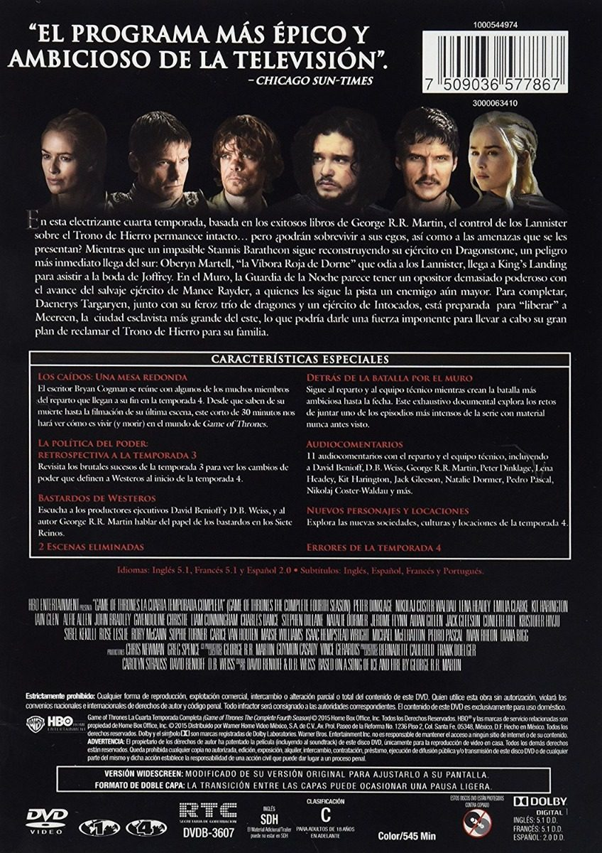 Juego De Tronos Game Of Thrones Cuarta Temporada 4 Dvd
