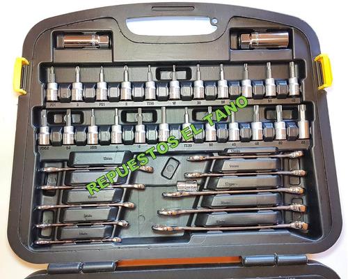juego de tubos y llaves combinada stanley st91931 120 piezas