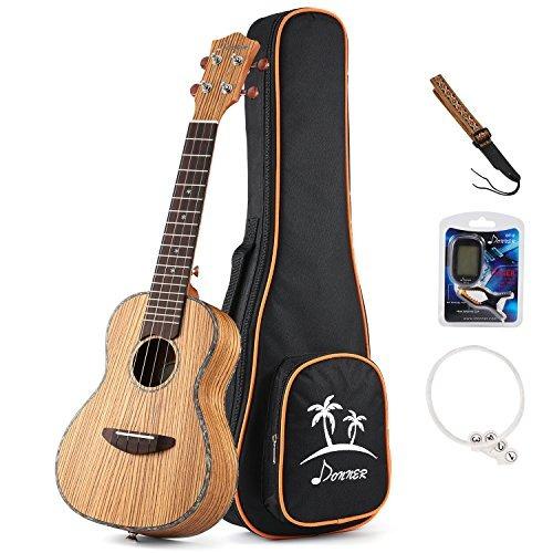 juego de ukelele donner zebrawood ukulele duc-2 juego de uk