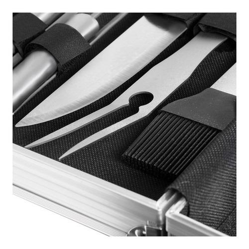juego de utensilios y cubiertos para asador + maletín - ua8998
