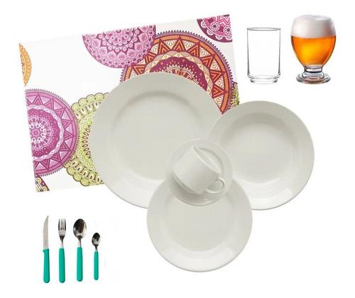 juego de vajilla completo 72 piezas cerámica biona platos playos hondos de postre tazas vasos vidrio cubiertos - cuotas