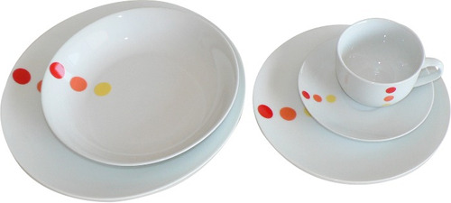 juego de vajilla de porcelana x 40 piezas  decorado puntos