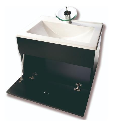 juego de vanitory 60cm lavatorio griferia cascada espejo