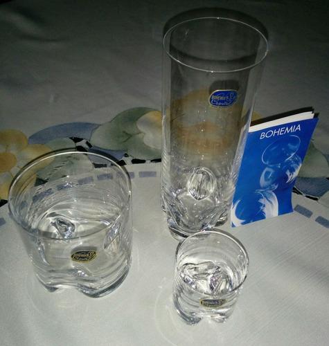 juego de  vasos crystal bohemia