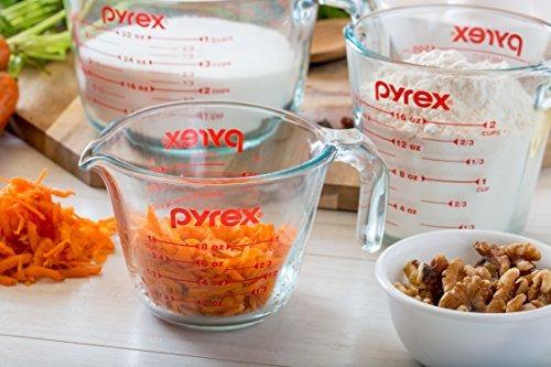 juego de vasos pyrex de vidrio de 4 piezas con vaso de medi